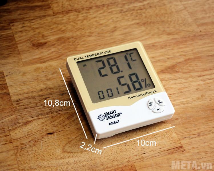 Kích thước sản phẩm nhiệt ẩm kế điện tử Smart Sensor AR867