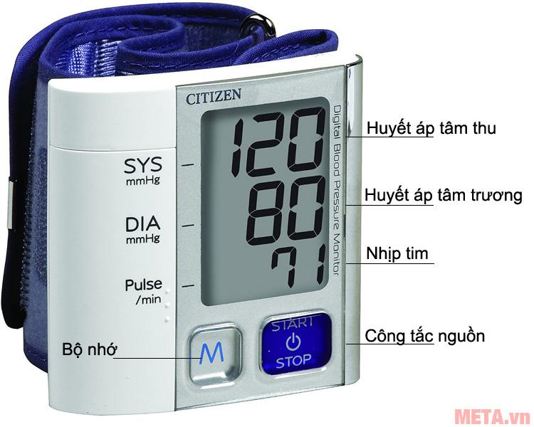 Cấu tạo các bộ phận của máy đo huyết áp cổ tay CH-657