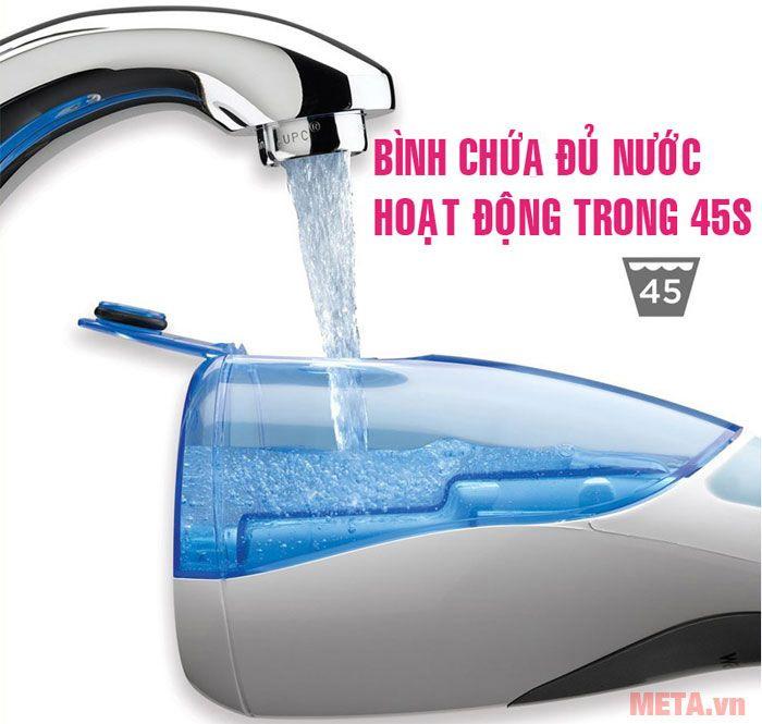Bình nước dùng được liên túc trong thời gian 40s