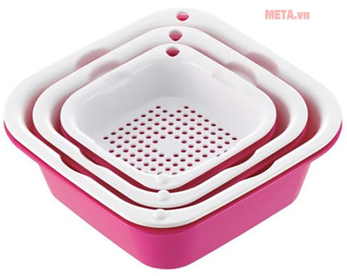 Set 6 khay rổ kháng khuẩn tổng hợp Richell màu hồng
