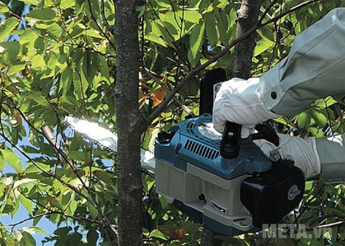 Máy cưa xích chạy xăng giúp cắt cây gỗ nhỏ