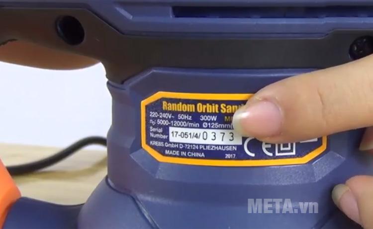Thông số kỹ thuật máy chà nhám