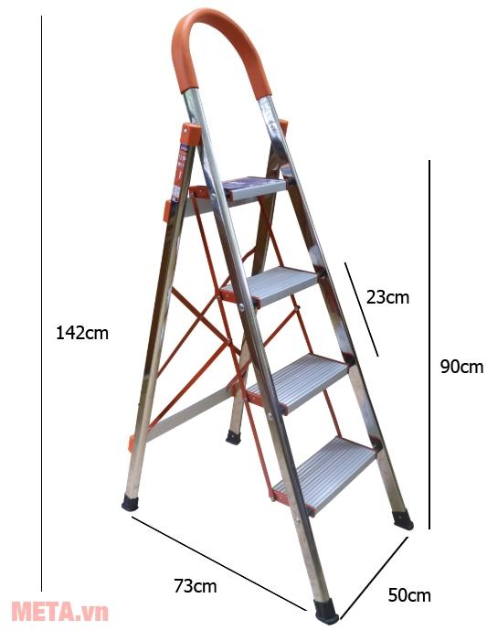 Kích thước thang ghế 4 bậc