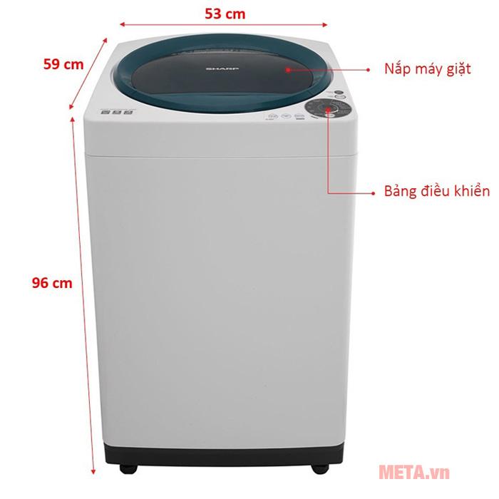 Kích thước máy giặt cửa trên