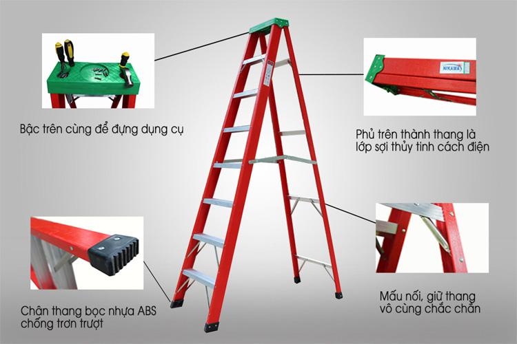 Các chi tiết của thang được cấu tạo an toàn cho người sử dụng