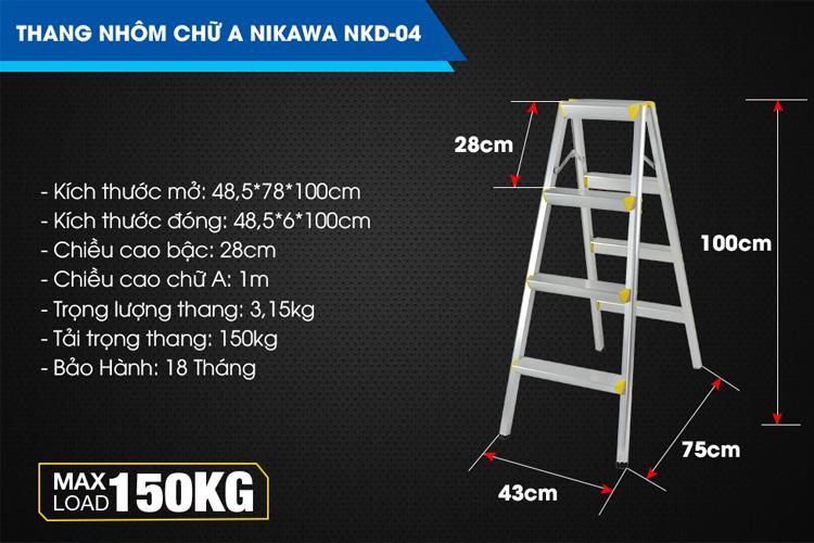 Thang Nikawa NKD-04 được làm từ hợp kim nhôm chống gỉ sét