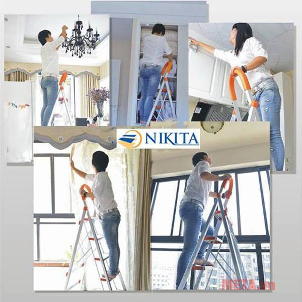 Thang ghế inox 5 bậc Nikita NKT-IN05 giúp bạn vệ sinh nhà cửa tiện lợi