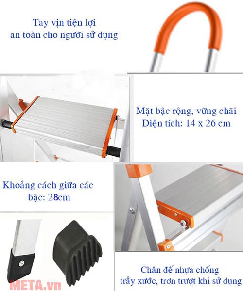 Các chi tiết của thang được thiết kế an toàn cho người dùng