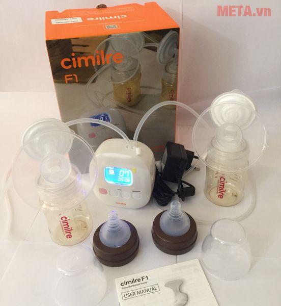 Máy hút sữa điện đôi Cimilre F1 nhẹ gọn, dễ dàng cất vào balo/vali để di chuyển xa.