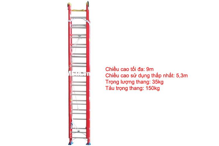 Thang có chiều cao sử dụng tối đa 9m