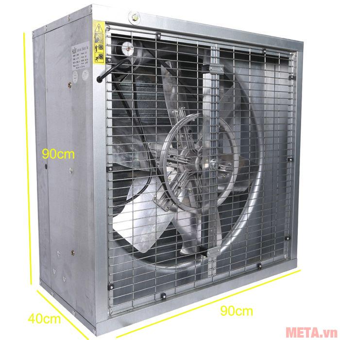 Quạt được thiết kế lưới bảo vệ bên trong và bên ngoài