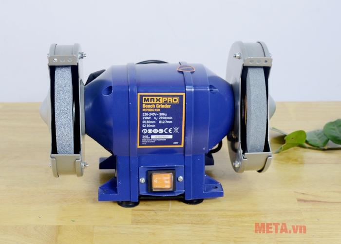 Máy mài 2 đá Maxpro MPBBG150 có màu xanh nổi bật