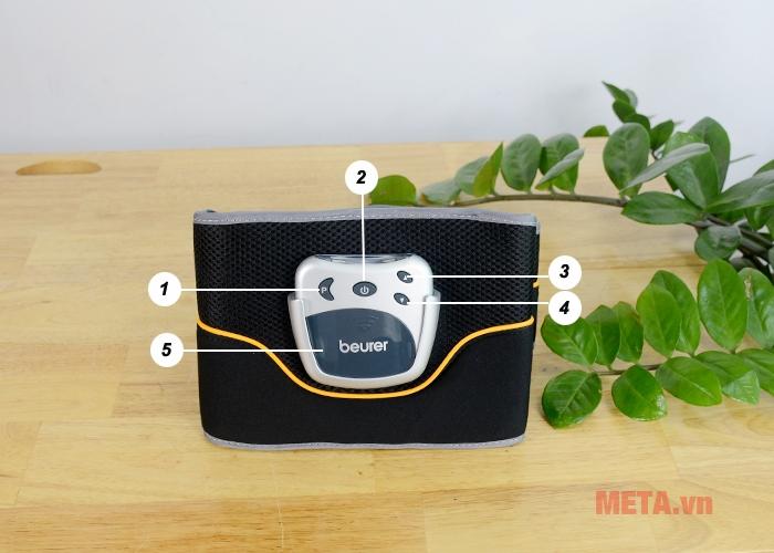 Bảng điều khiển của đai massage bụng Beurer EM35