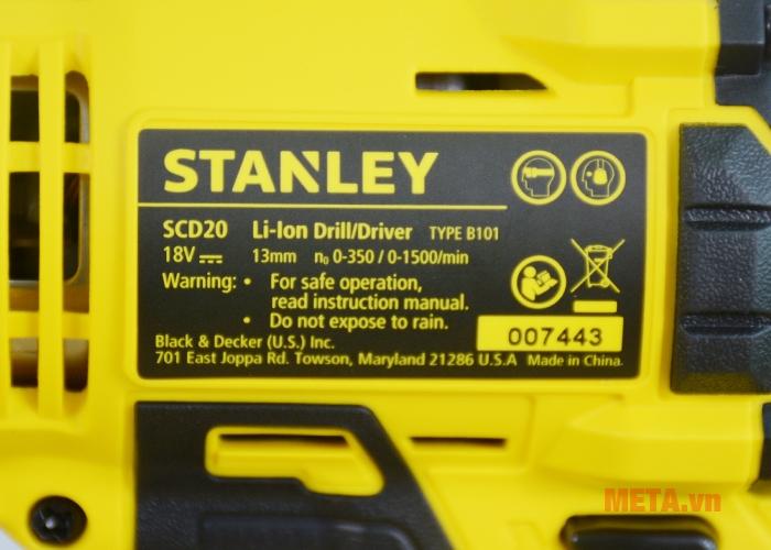 Thông số kỹ thuật máy khoan pin Stanley SCD 20C2