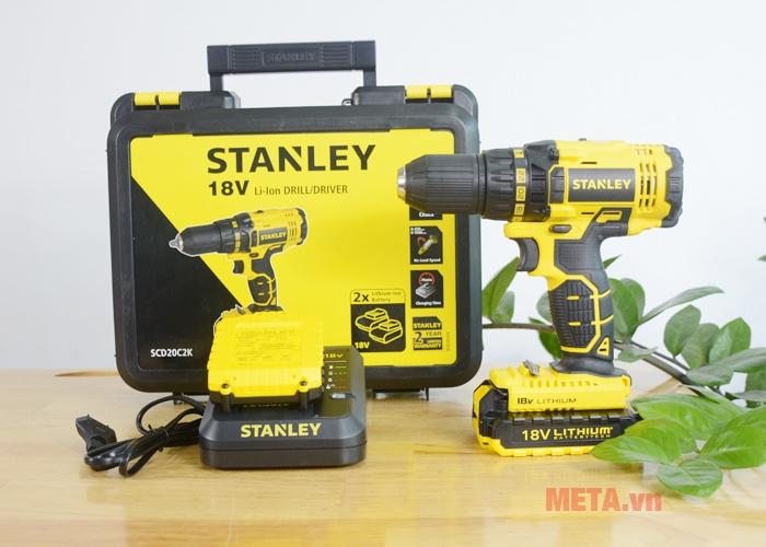 Trọn bộ sản phẩm máy khoan pin Stanley SCD 20C2 12mm - 18V