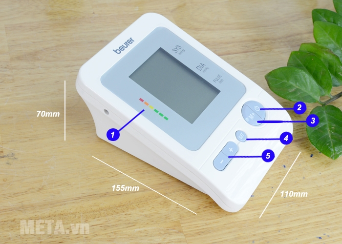 Cấu tạo và kích thước máy đo huyết áp Beurer BM26