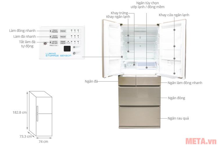 Cấu tạo các chi tiết của tủ lạnh Panasonic NR-F610GT-N2 588 lít