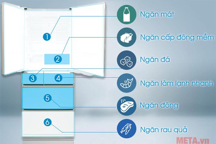 Tủ hoạt động với 6 ngăn chức năng