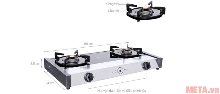 Cấu tạo các chi tiết của bếp gas đôi Sanko G-Cooker 68 GB