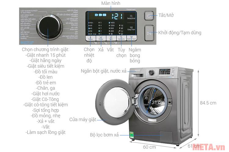Cấu tạo các chi tiết của máy giặt Samsung WW80J54E0BX/SV (8kg)
