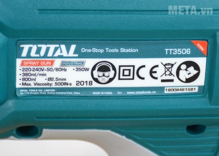 Thông số kỹ thuật máy phun sơn Total TT3506