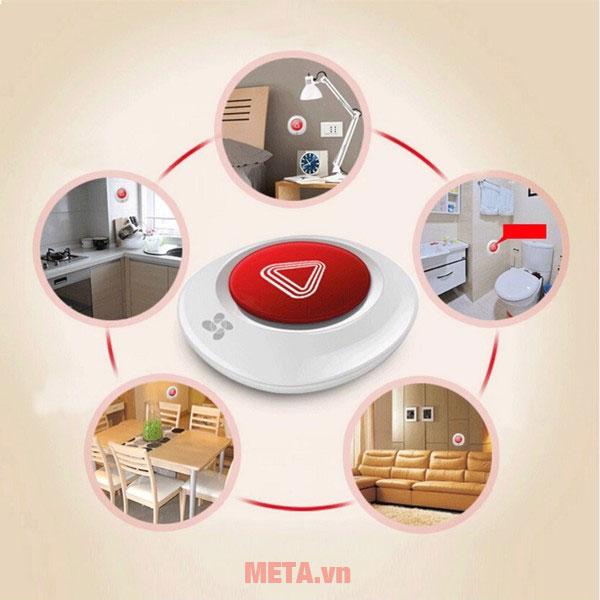 Bạn có thể đặt nút bấm không dây ở bất kỳ vị trí nào trong căn nhà.
