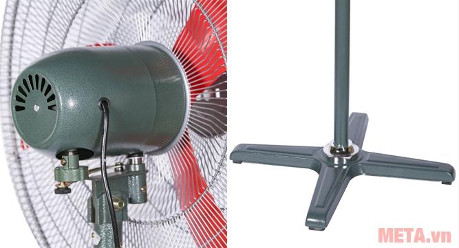 Quạt có lồng sơn tĩnh điện và chân đế chắc chắn từ vật liệu cao cấp