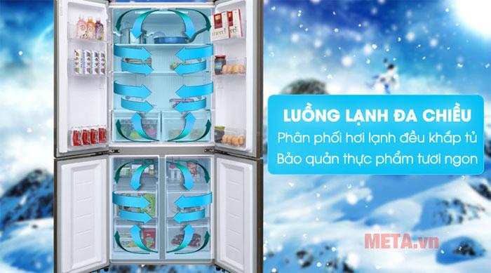 tủ lạnh 4 cánh AQR-IG595AM có luồng khí lạnh đa chiều cho thực phẩm được trọn vẹn vị ngon