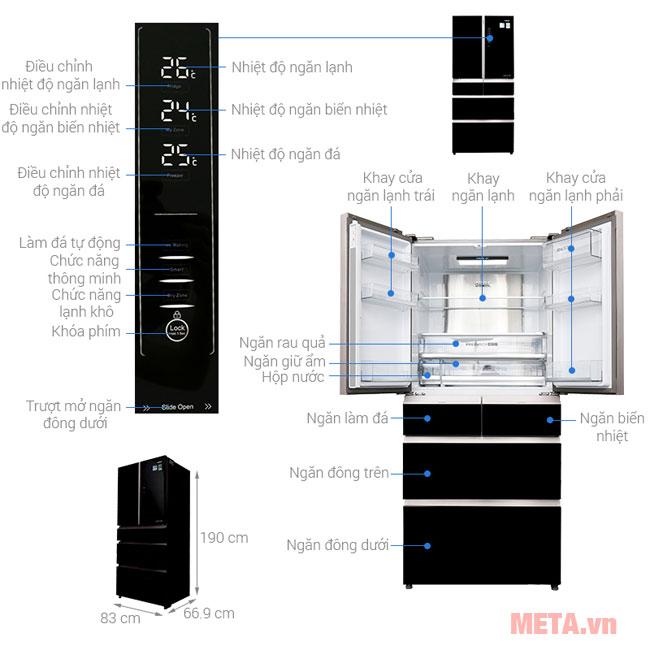 Các bộ phận của chiếc tủ lạnh AQR-IG686AM