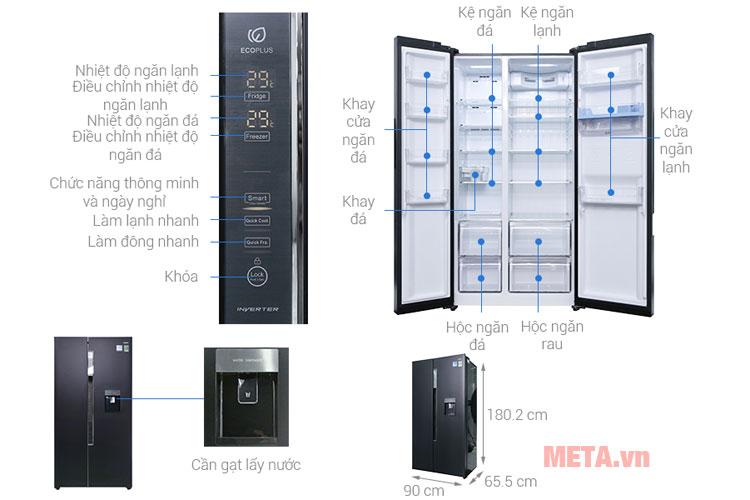 Ghi chú các bộ phận của tủ lạnh inverter AQR-I565AS