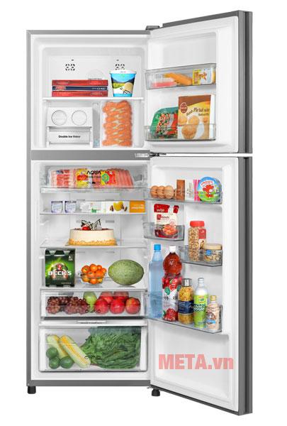 Với dung tích 327 lít tủ có thể chứa được lượng thực phẩm nhiều hơn