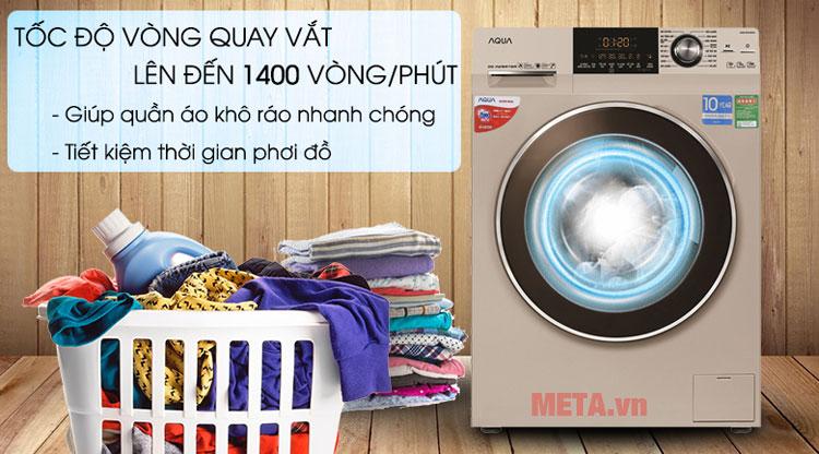 Máy giặt cửa trước có tốc độ vòng quay lên tới 1400 vòng/ phút