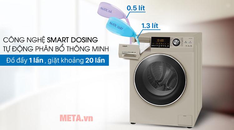 Chiếc máy giặt  Inverter Aqua AQD-DD1000A sẽ tự động phân bổ nước giặt và nước xả vải