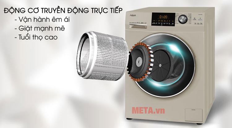 Động cơ truyền động trực tiếp (DD Inverter) giúp máy hoạt động êm ái và bền bỉ
