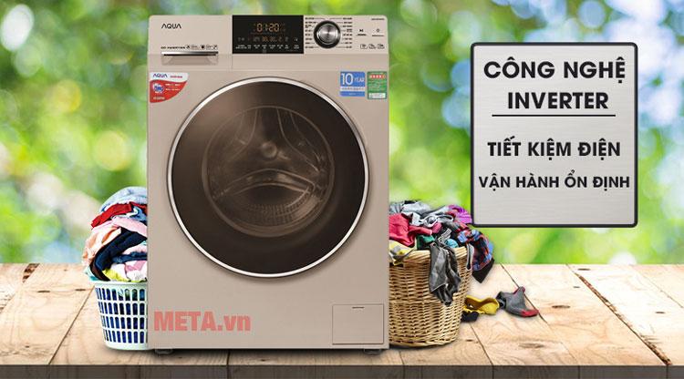Máy giặt sử dụng công nghệ Inverter siêu tiết kiệm điện.