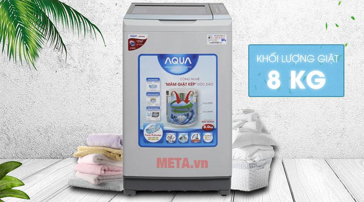 Máy giặt lồng đứng có thể giặt được tối đa 8kg quần áo
