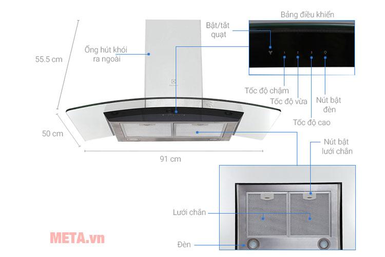 Ghi chú kích thước và bảng điều khiển của máy hút mùi Elexctrolux EFC936GAR