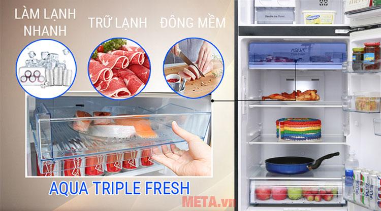 Công nghệ ngăn lạnh 3 chức năng Aqua Triple Fresh.
