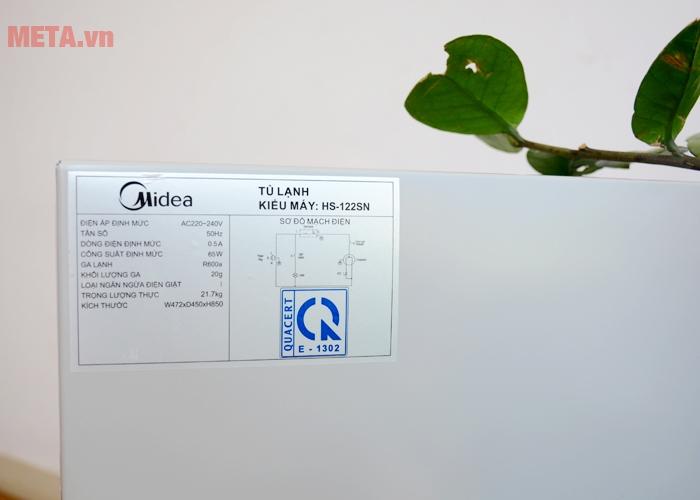 Tem thông số kỹ thuật tủ lạnh mini Midea HS-122SN
