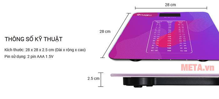 Kích thước cân sức khỏe điện tử