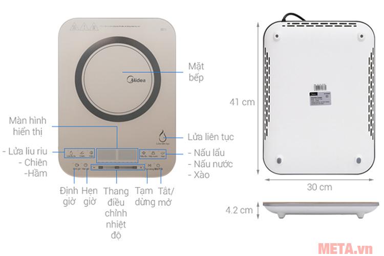 Kích thước của bếp điện từ cảm ứng cao cấp Midea MI-T2117DA