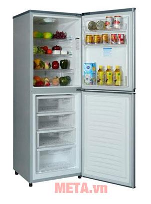 Tủ có dung tích 250 lít giúp bạn chứa được nhiều thực phẩm hơn