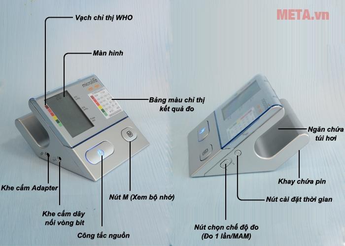 Cấu tạo máy đo huyết áp cá nhân Microlife BP A100 Plus