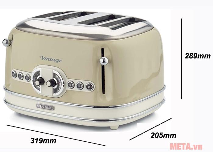 Kích thước máy nướng bánh mì, sandwich Ariete MOD 0156