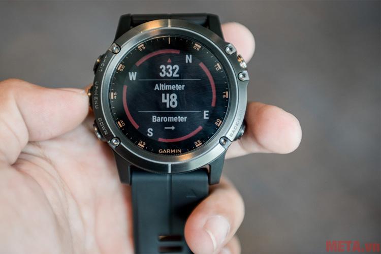 Cảm biến nhịp tim của đồng hồ thông minh hỗ trợ tập luyện Garmin fenix 5X Plus Sapphire