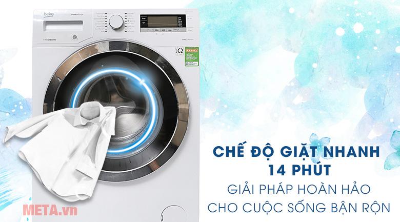 Chế độ giặt nhanh 14 phút tiết kiệm thời gian với gia đình bạn