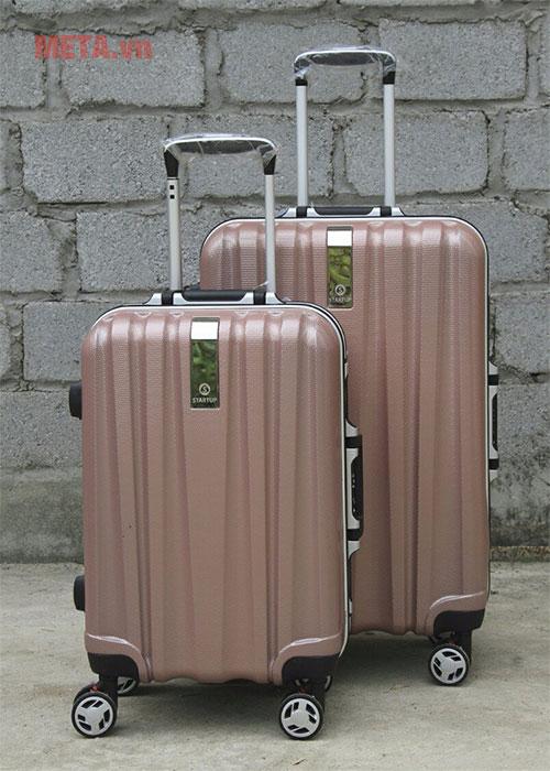 Vali nhựa màu hồng gold