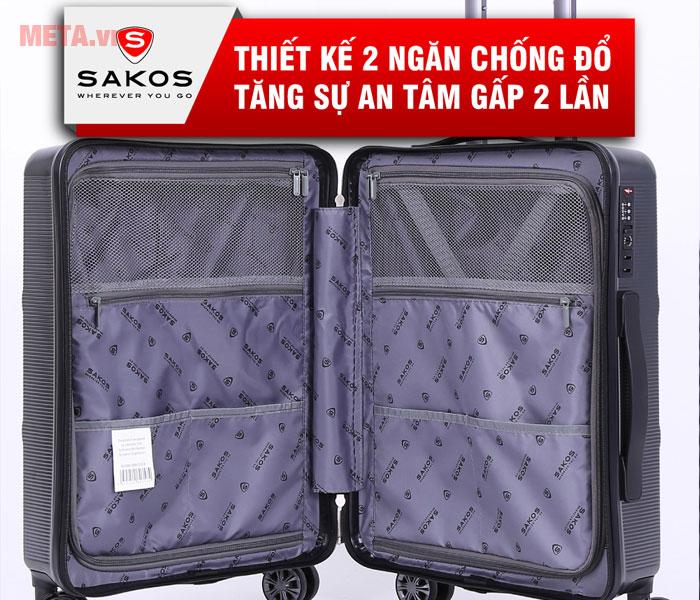 Vali có thiết kế 2 ngăn