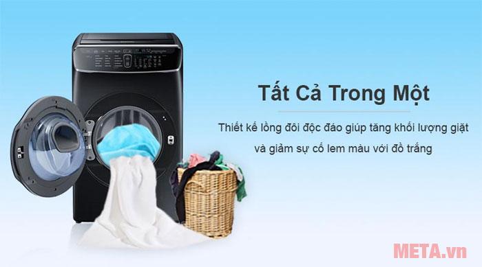 Thiết kế 2 lồng giặt tiện lợi
