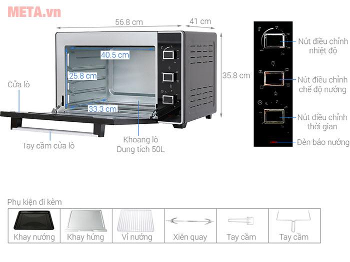 Lò nướng 50 lít Sanaky VH-5099S2D có thiết kế rộng rãi, núm vặn điều chỉnh dễ dàng